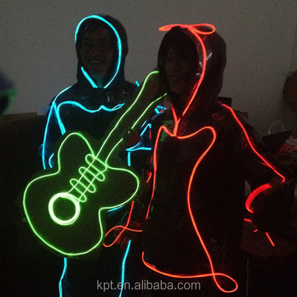 Hot sale high brightness EL wire light for hoodies, suits stickman costume,glowing clothes, suits