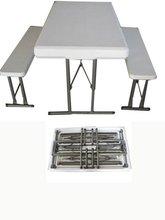 lightweight design folding beer table,blow molded folding beer table with bench(High quality folding table)