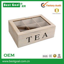 Relaxdays Wooden Teabag Case Box Teabox 6 Compartments Brown wooden tea set storage box
