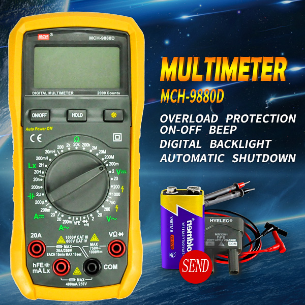 MCH-9880D AC DC voltage & current 2000counts Portable Electronic & Electrical Digital Multimeter