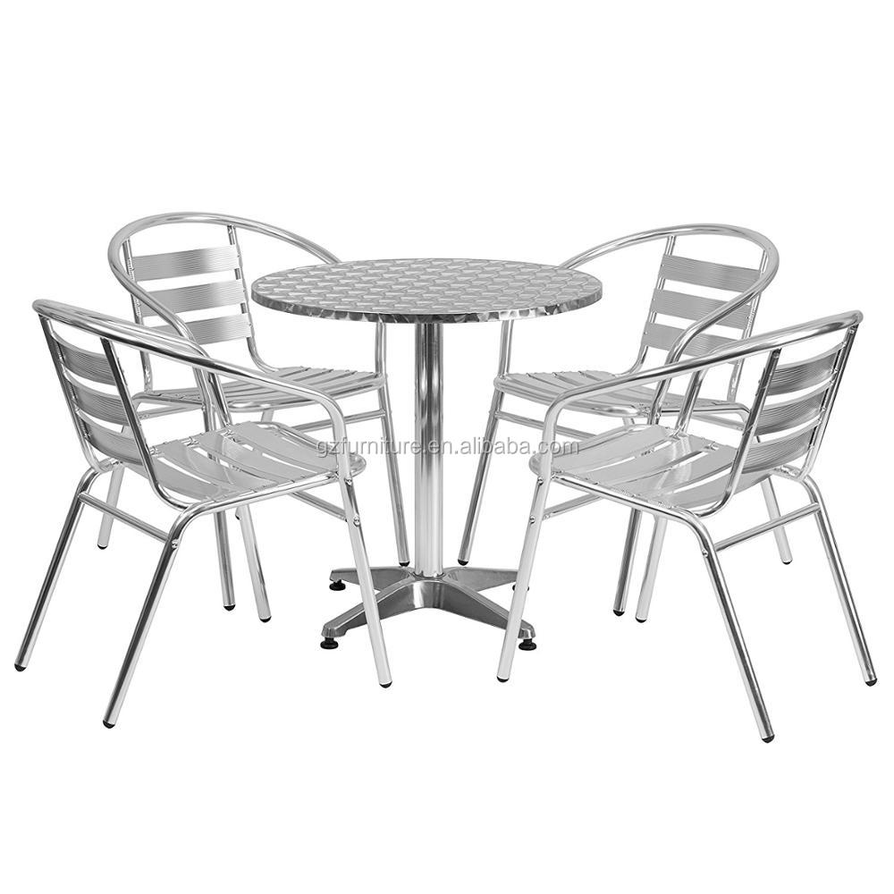 Heavy Duty Aluminum Commercial Indoor-Outdoor Restaurant Stack Chair with Triple Slat Back