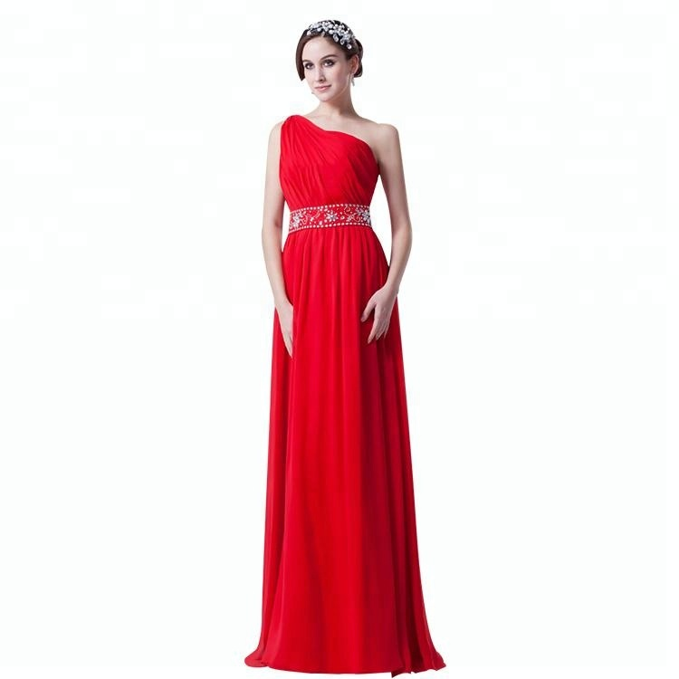ea64905e6e83fd7 Одно плечо бисером длина пола длинный Вечер шифон линия платье для вечеринки