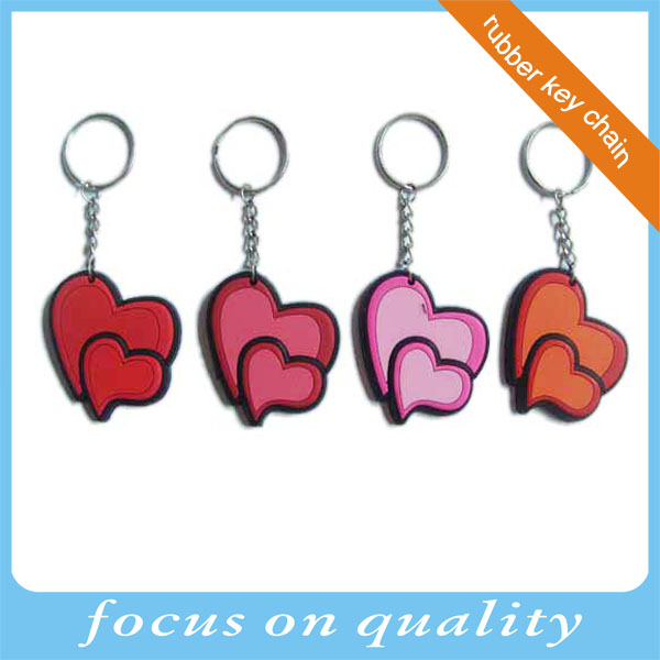 high quality micro injection rubber custom personalized double hearts shaped soft pvc keychain 3d