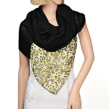 contrast color printed jersey infinity scarf and voile loop scarf