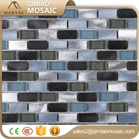 Ocean Blue And Green Silver Glass Mix Metal Mosaic Tile 3D Mosaic Tile