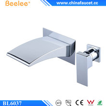 Beelee B6037 Eco-Friendly 4 inch Two Holes One Handle Wall Mounted Waterfall Basin Faucet