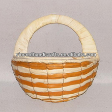 Christmas decorative hanging wicker flower basket with braided handle