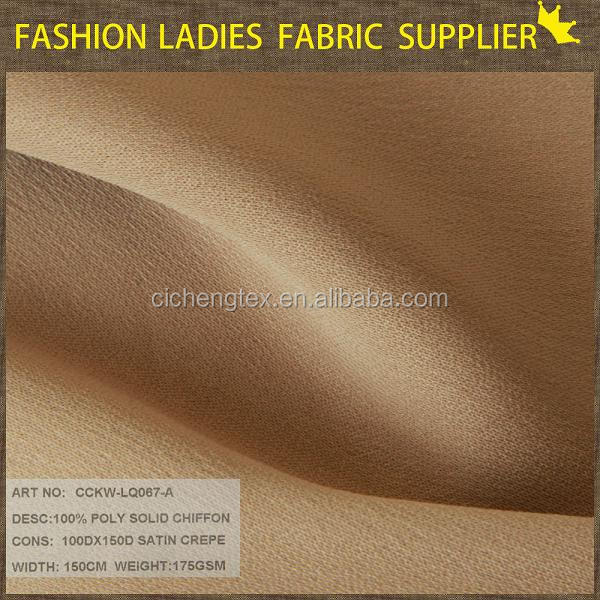 shaoxing cicheng 100% poly solid satin crepe chiffon sheer tulle fabric