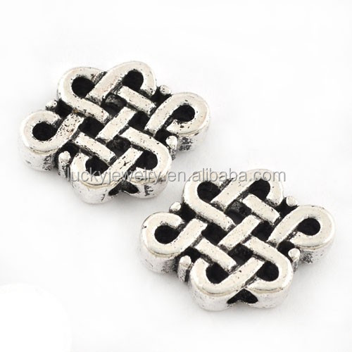 Tibetan Silver Beads Flat Metal Slider Beads For Leather Jewelry Wholesale