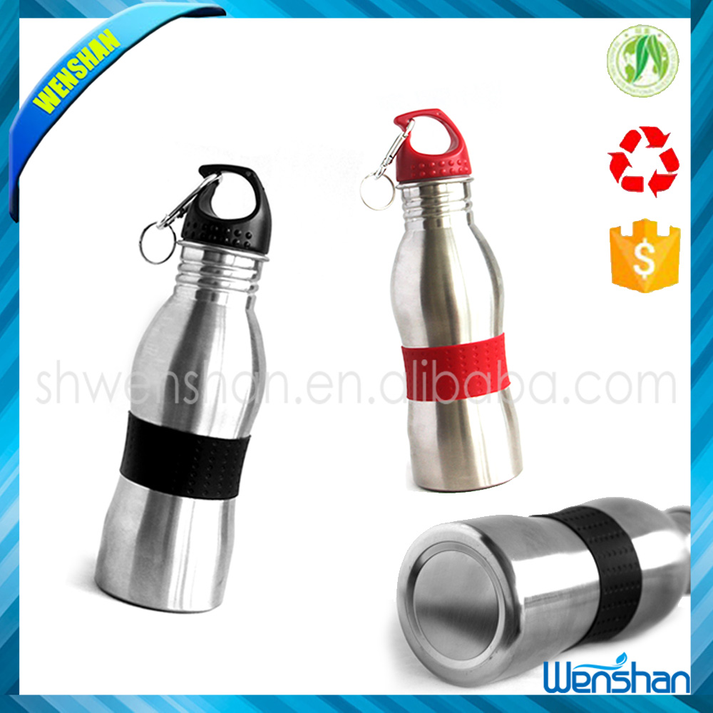 600ml single wall high quality 600ml stainless steel peanut shape wild mouth sports water bottle with carabiner