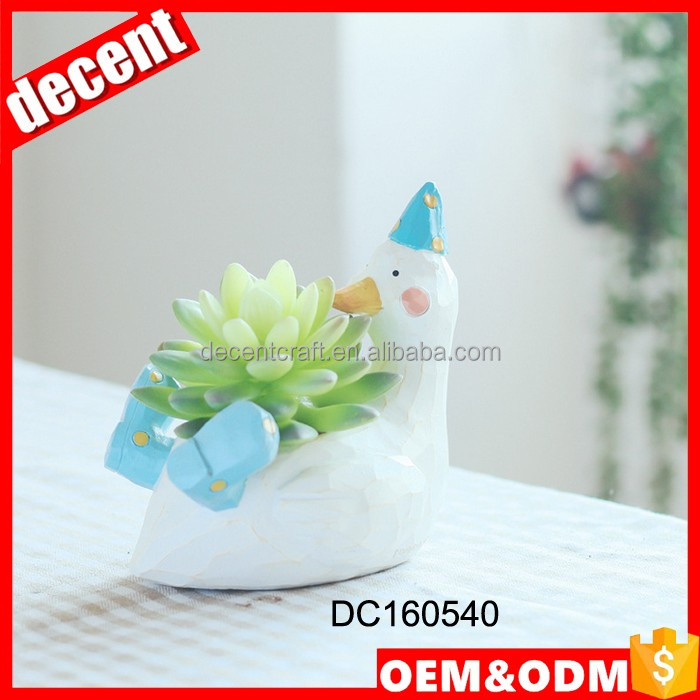 Mini resin animal planter for succulents duck flower pot