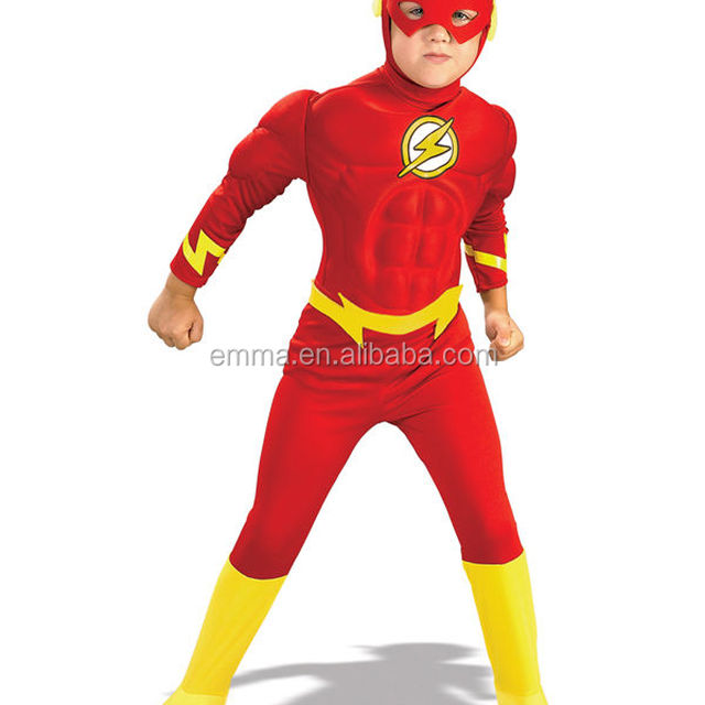Child The Flash Muscle Chest Outfit Fancy Dress Costume Superheroes Kids Boys BC12270