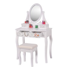 Finely processed white wood cosmetic dressing table
