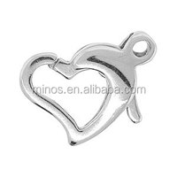 13x9mm Silver Plated Heart Shaped Lobster Claw Clasp Fashion Lobster Clasp For Decoration