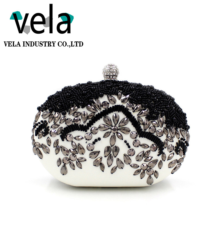 Hot Cake Round shaped Beaded Rhinestone Ladies Wedding Evening Clutch Bags