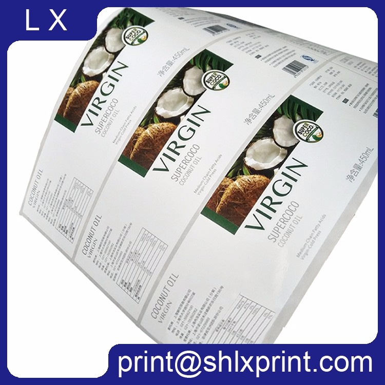 Custom Offset Printed Roll Self Adhesive Juice Bottle Labels