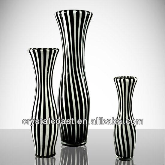 Tall Black And White Glass Vases Wholesale For Restaurant