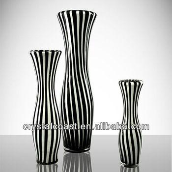 Black Stripe Glass Flower Vase