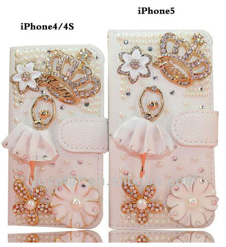 Bling Cystal Diamond Ballerina Girl with Crown PU Leather Case for iPhone4 4s/5 5s