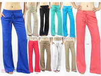 OEM Custom Wholesale Cheap Women Linen pants with banded waist draw strings regular/ plus sizes long pants