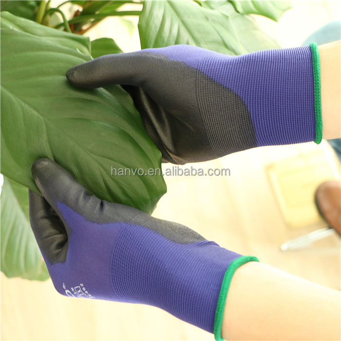 Wholesale HANVO brand 18G soft nylon liner with PU gardening gloves