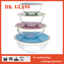Microwave safe glass mixing bowl with plastic lid/ High borosiliate large glass salad bowls for kitchen