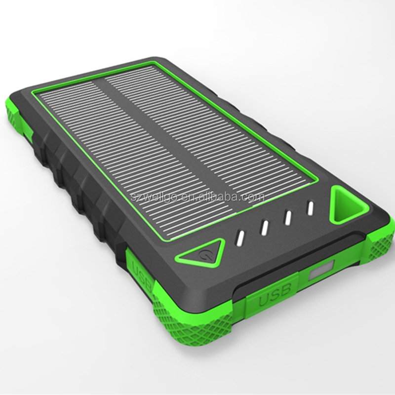 portable 8000mah solar power bank cell phone charger with carabiner