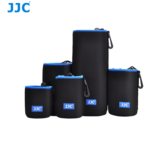 JJC 5 Sizes 3.5mm Thick With Carabiner Soft Waterproof Neoprene Lens Pouch Lens Case for Mirrorless DSLR Camera Lens