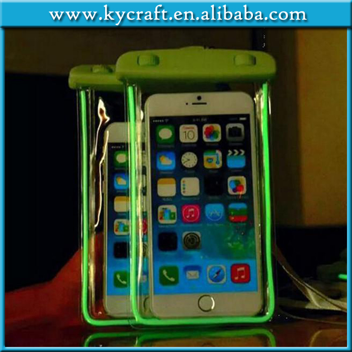 New universal Night Light Luminous mobile phone waterproof bag for cell phone 6 inch