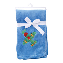 Embroidered Plane Soft Flannel Baby Boy Blankets - Blue