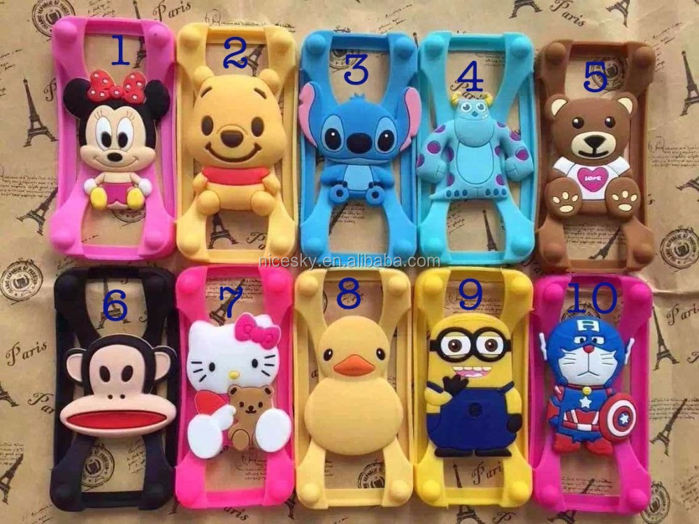 New arrived Elastic X Silicon Frame Bumper 3D Cartoon Case For Smartphone Universal Phone Protective Cases