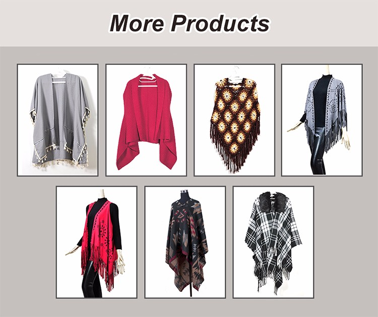 Wholesale New Fashion Winter 100% Wool Women Handmade Cashmere Poncho