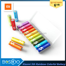 Xiaomi ZI5 AA Battery Rainbow Colorful Alkaline AA Batteries 10 Pcs 5th AA 1.5V Battery For Toys ,Remote control, clock, etc.