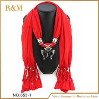 Most popular lady scarf simple design long scarf with jewelry