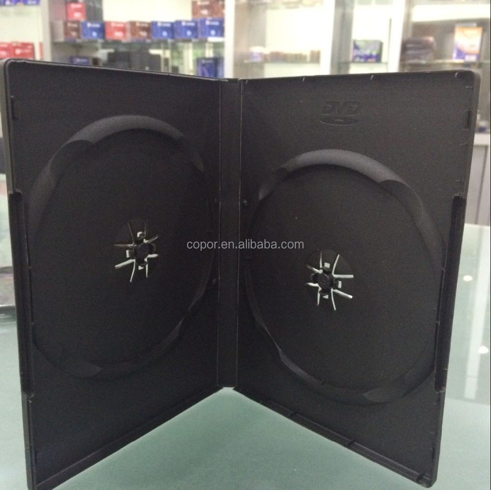 factory sale single tray and double tray 14MM black DVD case