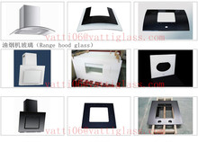 Professional 6mm 8mm kitchen glass range hood glass silk screen printing colored tempered glass