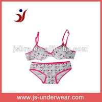 hot sell fashion style girls sexy cotton underwear bra set