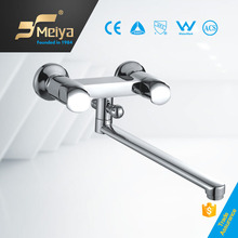 bathroom double handle long neck wall mount sink faucet kitchen mixer tap in China