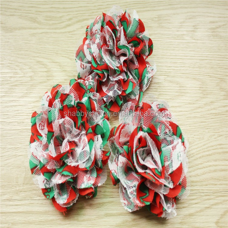 "Red with Green shabby Chiffon & Lace Flower- 3.75"" Chiffon Lace Flower"
