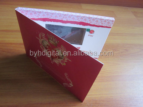 High quality 4.3 inch video card 2GB 3 buttons Colorful Printing Business wedding invitation card