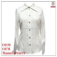 western style good quality stand collar full sleeve women formal shirts designs