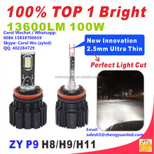 Ever Best TOP 1 Bright 100W 13600lm P9 h15 cars use h11 bulbs pk xhp70 zyled headlight bulbs h4 h7 led 100w projector headlight