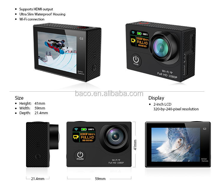 New model digital motion video recording H.264 FHD 1080P wifi waterproof G3 action camera wifi 4k