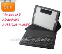 New aluminium alloy detachable bluetooth keyboard with case for ipad5 ipad 5 ipad airblack