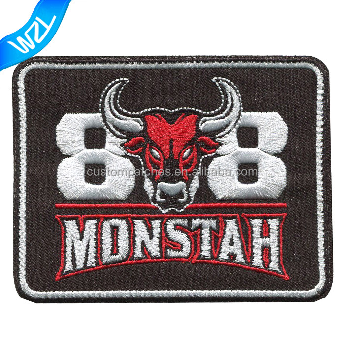 Bull embroidery letters logo badge and words patches