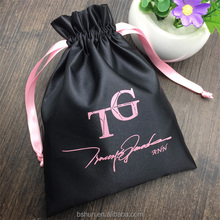 Black Thick Satin Drawstring Dust Hair Bag with Logo Printing