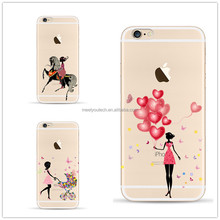 Custom logo silicone tpu cover case for iphone 4 4s 5 5s 6s 6plus Butterfly Girl Designs