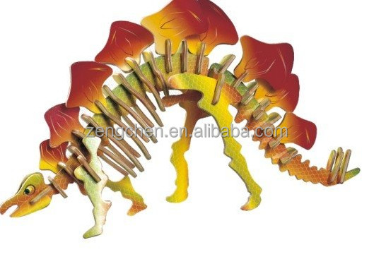 High Quality 2017 Hot Sale New color wooden plywood 3D dinosaur puzzle