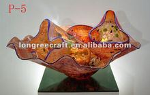 Hand Blown Glass Plate Antique Colored