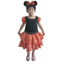 High Quality Minnie Girl Mouse Clothes With Headband Costume Children Wears Kids Dress